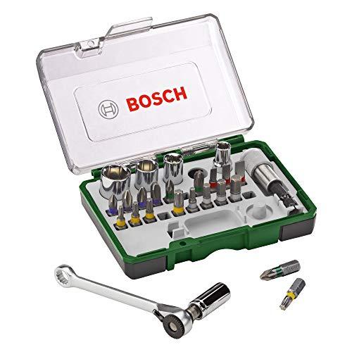 Bosch 27tlg. Schrauberbit- und Ratschen-Set (Extra harte Qualität, Zubehör Bohrschrauber und Schraubendreher)