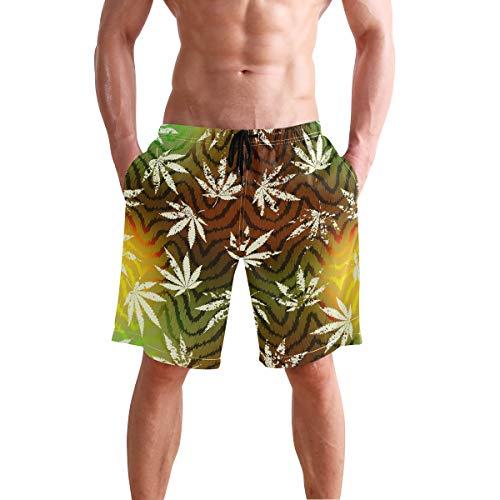 MONTOJ Herren-Shorts, Rastafari, Grunge Hanf, Blätter, mit verstellbarem Kordelzug - Mehrfarbig - Medium