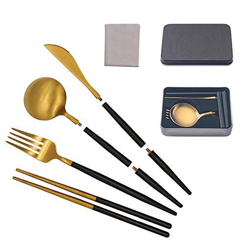 Portable Reusable Travel Cutlery Set, Stainless Steel Travel Cutlery Set, Reusable Chopsticks with Case for Camping,Picnic,Office, On-The-Go(Pocket Sized Flatware Set with Clean Cloth, Black Gold)