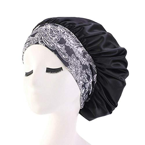 Ltong Women Satin Night Beauty Salon Sleep Cap Cover Hair Bonnet Hat Silk Head Wide Elastic Band For Curly Springy Hair Shower Cap,Black