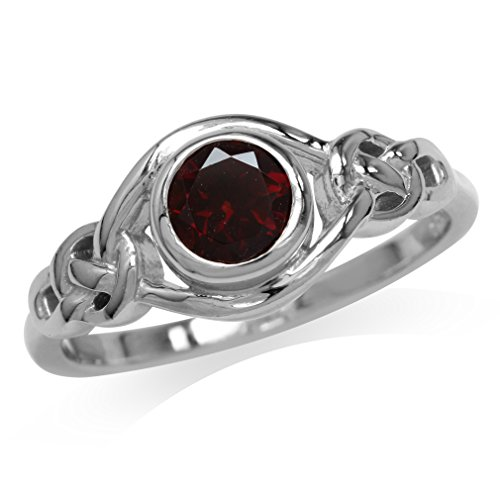 Silvershake Natural Garnet White Gold Plated 925 Sterling Silver Celtic Knot Ring Size 12