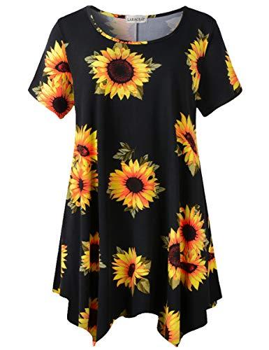 LARACE Plus Size Floral Tops for Womens Blouses Short Sleeve Tunic for Leggings Hankerchief Hem Summer Clothes Sunflower Shirt(A-SunFlower27 2X)