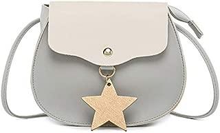 TOOGOO Korean Version Of Color Matching Oval Ladies Shoulder Mobile Phone Bag Stars Hanging Small Bag Black