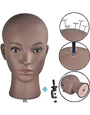 Afro Cosmetology - Cabeza de maniquí calvo para hacer pelucas, sombrero, exhibición de gafas con abrazadera gratuita