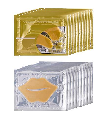 10 Pairs Collagen Eye Mask and 10 Pcs Collagen Lip Mask, Anti Aging Eye and Lip Mask, Collagen Crystal Mask Set (Gold)