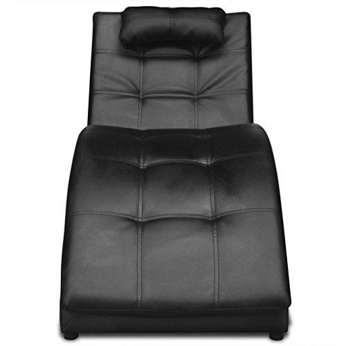 Festnight Chaise Longue en Cuir Artificiel Noir avec Coussin 150 x 55 x 72cm