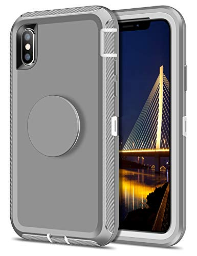 Aemotoy Case for iPhone Xs iPhone X Case Hybrid Protective Heavy Duty Hard Shell with Multifunctional Collapsible Stand Holder Full Body Shockproof Cover Case for iPhone Xs X 10 10s, Light Gray -  AECASE005