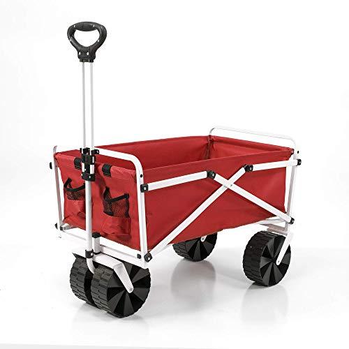 YSC Wagon Garden Folding Utility Shopping Cart,Beach (Large, Red)