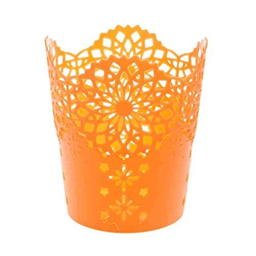 Gespout Creux Fleur Plastique Cylindre Pot à crayons support durable Organiseur Stationery Office Decor Plastique Orange 10*7.5*11.5cm
