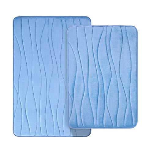 Homaxy Badematten Set 2 teilig Memory Foam Saugfähige Badeteppiche Set rutschfeste Waschbar Badvorleger Set 2teilig (40 x 60 cm + 50 x 80 cm, Hellblau)
