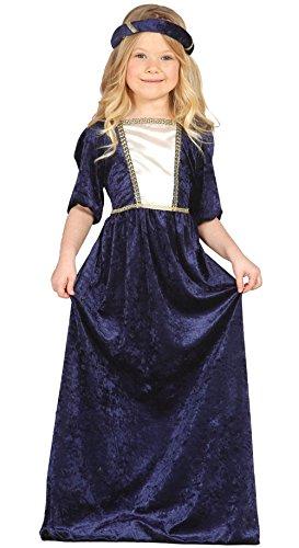 Guirca–Mittelalterliches Kostüm mit Kleid und Kopfband, für Kinder von 5–6Jahren, Blau (85597)