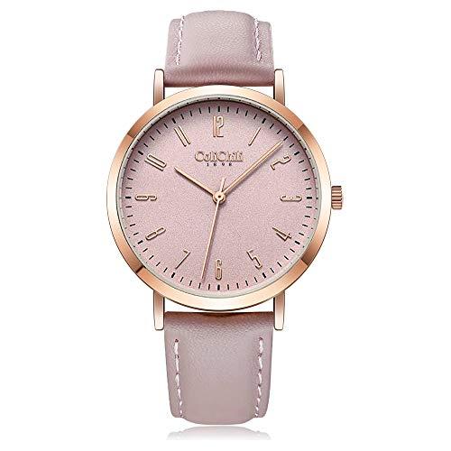 [ColiChili] 1017D レディース 腕時計 文字盤 革 バンド 日本製クオーツ ファッション ウォッチ (ピンク)