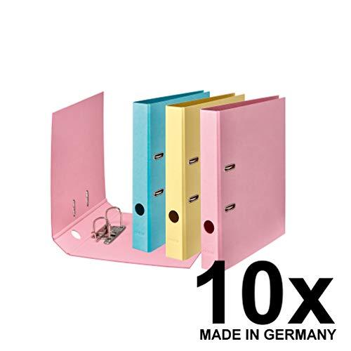 Original Falken 10er Pack Vegan-Ordner Pure Pastell. Made in Germany. 5 cm breit DIN A4 farbig sortiert (Himmel_Blau, Vanille_Gelb, Flamingo_Pink) Aktenordner Briefordner Büroordner Pappordner