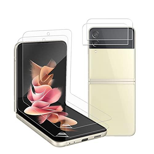 Protector de Pantalla para Samsung Galaxy Z Flip 3 5G con 2 Pack HD Película de TPU y 2 Pack Protector de Lente de Cámara - Sin Burbujas Huella Digital Ultrasónicatección Cobertura Máxima