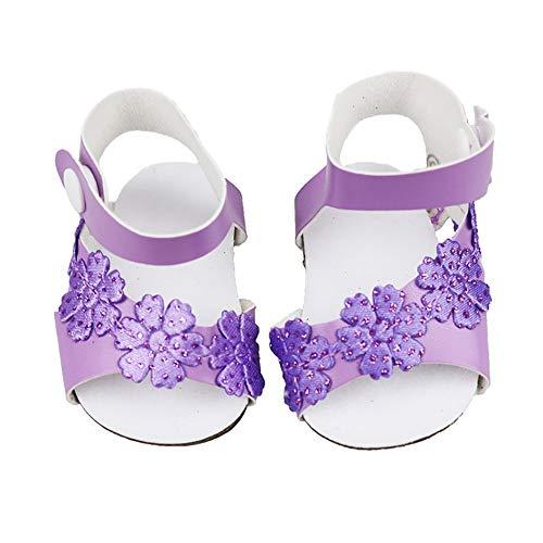 Feketeuki Niedliche lila körnige Schuhe passt für 18-Zoll-amerikanische Mädchenpuppe für Babypuppenzubehör Mädchen Bestes Chirstmas-Geschenk - lila