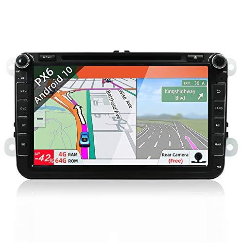 PX6 Android 9 Autoradio Compatibile con VW Skoda SEAT Golf Polo Jetta Passat Touran - 4G+64G -GPS 2 Din - Camera & Canbus GRATUITI -Supporto DAB HDMI 4K Video Controllo del volante 4G WiFi Mirrorlink