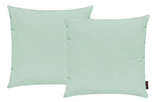 Fino Kissenhülle ca. 50 x 50 cm hochwertig & knitterarm in vielen bunten Farben 2er Set (028 Pastellgrün)