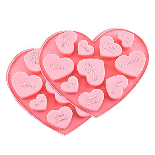 Mopoin Herzbackform Silikon, 2 Stück Herzbackform Klein für Muffins, Herzbackform, Backform, Muffinform Herz, Eiswürfel, Muffincups, Schokolade, Seife - Rosa