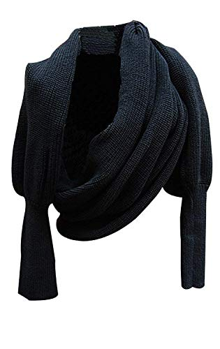 Aicos Alacos Knit Blanket Long Shawl Winter Warm Large Scarf with Sleeves for Women (Black)