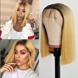 Oxeely Hair Short Bob Blonde Color Hair Lace front Wigs with Baby Hair Natural Hairline Glueless Synthetic Yellow Lace Front Wigs for Women Wigs 14inch