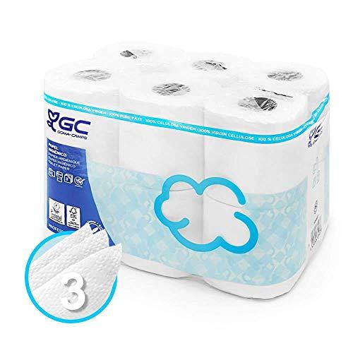 Papel Higiénico de 3 Capas Acolchado, Envío URGENTE desde España, Papel Ecológico Certificado con Gran Suavidad (12 Rollos)