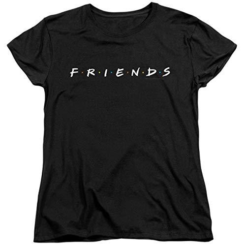 Popfunk Friends TV Show Logo Black Women's T Shirt & Stickers (X-Large)