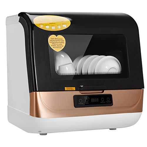 Lavavajillas de encimera portátil, lavavajillas automático con bajo consumo de agua y uso múltiple| Cuidado del bebé | Vidrio| Lavado de frutas para apartamentos pequeños y cocina casera (negro)