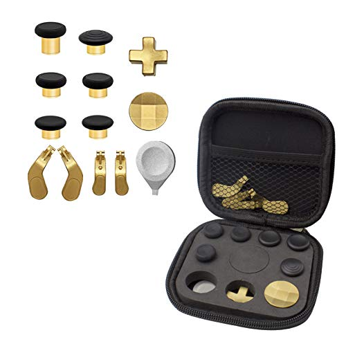 Easegmer Plating Elite Series 2 Kits - 13 in 1 Metal Interchangeable 6 Swap Thumbsticks Joysticks, 4 Trigger Paddles and 2 Dpads for Elite Series 2 Xbox One Controller (Gold-Plating)