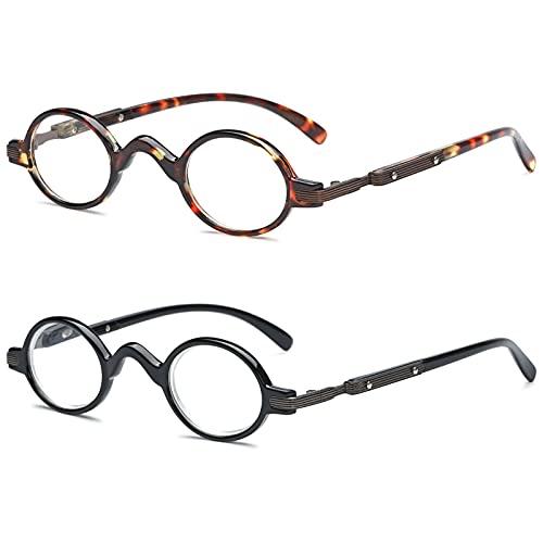 VEVESMUNDO Lesebrillen Herren Damen Retro Runde Klassische Vollrandbrille Arbeitsplatzbrille Vintage Klar Lesehilfe Sehhilfe Brillen mit Sehstärke (2 Stück Lesebrillen(Schwarz+Schildpatt), 2.0)