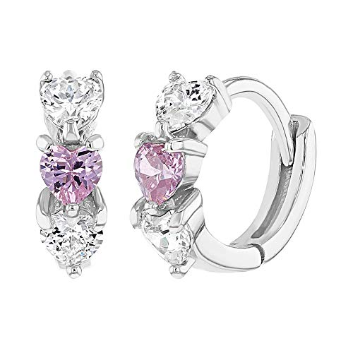 """925 Sterling Silver Fashionable Clear Pink Cubic Zirconia Heart Huggie Earrings 0.39""""- Perfect Pair For Infants, Toddlers & Young Girls- Shiny & Lovable Earrings Best For Birthday Gift"""