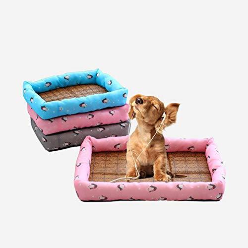 WTMLK 2pcs / lot Pet Soft Pet Lit Cool Mat Pad Refroidissement d'été pour chenils Caisses et Lits Paille Bambou Cozy Dog and Cat Coussin Lit, Rose, L