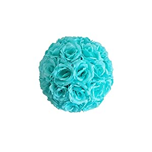 13 15 20 25 30 cm Large Wedding Flower Ball Decoration Artificial Silk Rose Flower Crafts Ball Hanging Home Ornament Mall Decor-Aquamarine-13cm