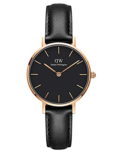 Daniel Wellington Petite Sheffield, Schwarz/Roségold Uhr, 28mm, Leder, für Damen