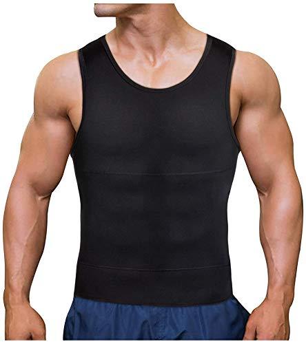 Chumian Herren Kompression Unterhemd Shapewear Bauch Weg Sport Fitness Figurformende Abnehmen Body Shaper Tank Top, Schwarz, 3XL