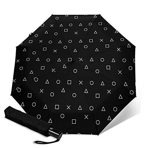 Paraguas automático de tres pliegues, resistente y automático, con cierre abierto, resistente al viento, plegable, para viajes, protección UV, diseño de juego negro