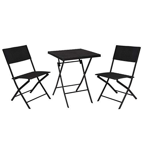 Ambiance Multistore 2002 - Juego de mesa y 2 sillas plegables (57 x 57 cm, aspecto de ratán), color negro