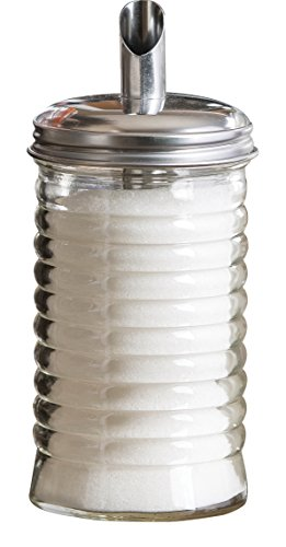 Tablecraft 12 oz Beehive Sugar Pourer with Stainless Steel Retro Pour Spout Top