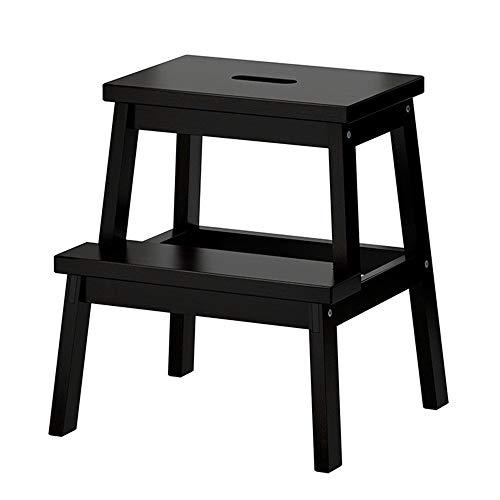 Xiao Jian kinderkruk, antislip, trapladder, opberghouder voor huis, van hout, 2 antislip, kruk, schoenenbank, stoelen, opvouwbaar zwart.