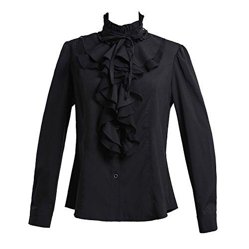Taiduosheng Women Shirts Lace Ruffle Neck Stand-Up Collar Victoria Ruffle Bow BlouseLong Sleeve OL Shirt Tops m Black