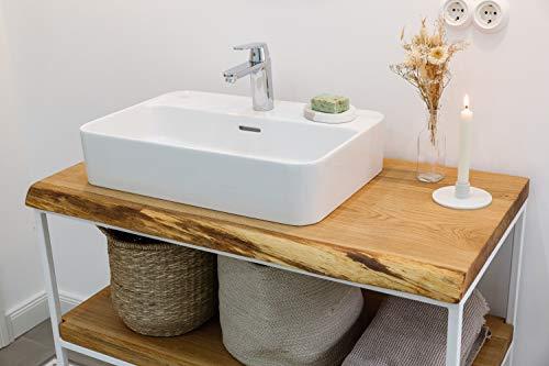 Waschtischplatte Eiche massiv Baumkante geölt Waschtisch Holz (70 x 45 cm)
