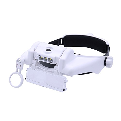 Lighted Head Magnifier Glass Loupe Headset with Led Light Headhand Magnifying Visor Hands-Free for Close Work,Jewelry,Sewing,Crafts,Reading,3 LEDs,6 Lenses