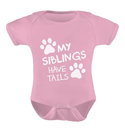 My Siblings Have Tails Cute Novelty Funny Infant Baby Boy Girl Bodysuit 6M Pink
