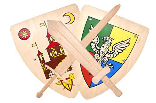 Woudi® I Stabiles Kinder Holz Schwert Schild Kombination Buchenholz Natur unbehandelt I Made in EU I Ritter Wikinger (Kampfset 3)