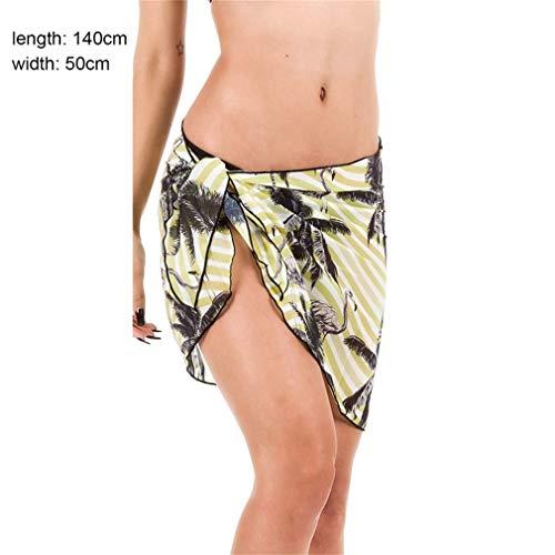 Sexy badmode vrouwen strand rok chiffon bikini bedekken print strandkleding Sarong korte badpak badpak zwemmen wrap rok geel