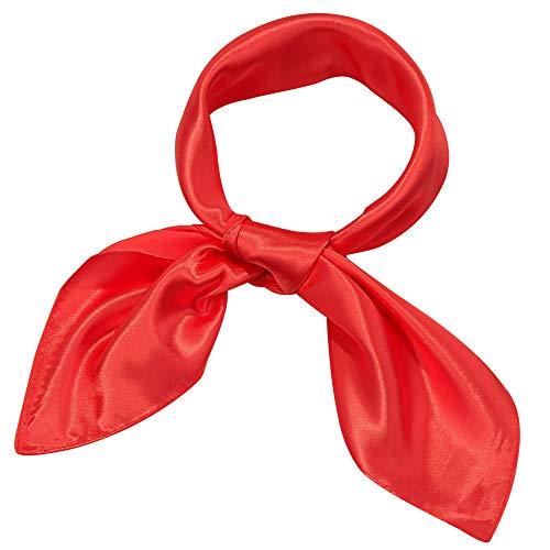 Satinior Chiffon Scarf Square Handkerchief Satin, Red, Size 23.6 x 23.6 inches