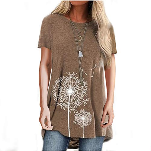 Xmiral Short Sleeve Tunic Tops Women Girls Summer Dandelion Printed Shirt Round Neck Basic T-Shirt(Khaki,3XL)