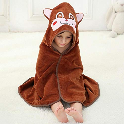 WLQCPD Handdoek,Baby badhanddoek 100% katoen Hooded Poncho Infant Beach Spa Deken Kid Animal Modeling Handdoek Kinderen Badjas Mantel, Eekhoorn