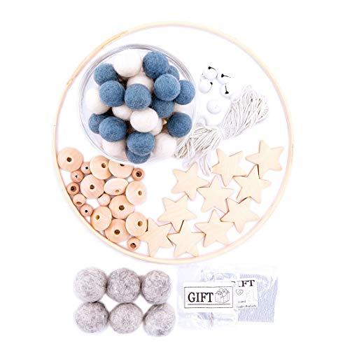 let's make Kinderzimmer Dekor DIY handgemacht Baby Mobile Kit Filzkugeln aus Holz Little Star Beads Zubehör (Blau)