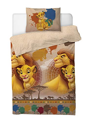 Disney Lion King Single Duvet Cover Bedding Set With Matching Pillow Case (SIMBA & MUFASA, SINGLE Bed (135cm x 200cm))