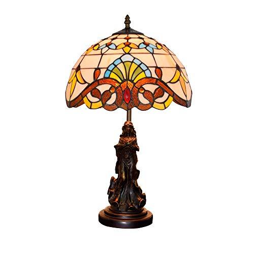 DIMPLEYA Lámpara de Mesa Creativa Tiffany Lámpara de Mesa Retro Mediterráneo Flores de diseño Diseño Luz Victorian Glaalery Lampshade, Dormitorio Sala de Estar